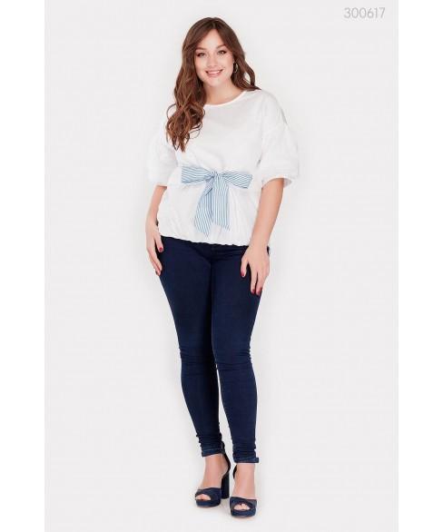Блузка Ливадия (белый голубой бант) 300617