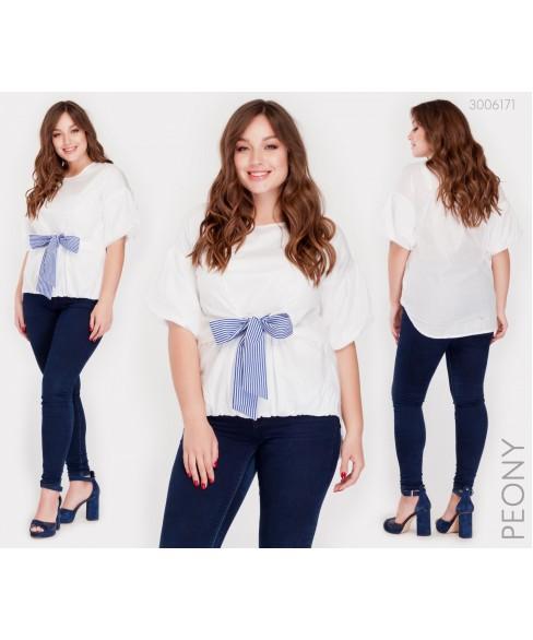 Блузка Ливадия (белый синий бант) 3006171