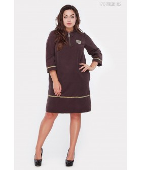 Платье Фрибур + SIZE (коричневый) 1707182�